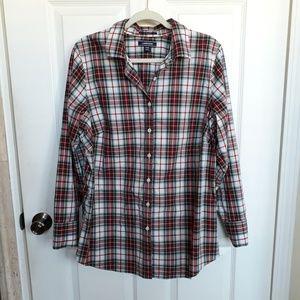 Lands End Plaid supima Cotton Button Down Shirt 18